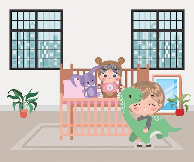Ilustração de desenhos animados de meninos felizes Vetor Premium