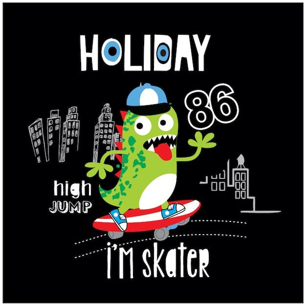 Ilustração de desenhos animados de monstro de skate bonito Vetor Premium