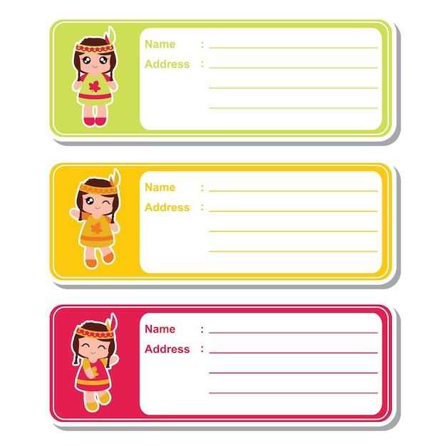 Boys Premium Name Labels: Ilustração De Desenhos Animados Do Vetor Com Meninas