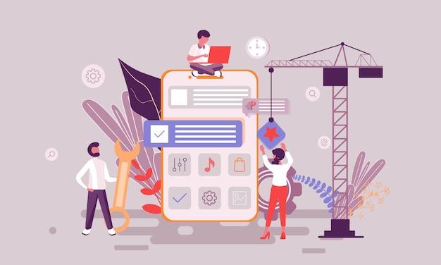Ilustração de desenvolvimento de aplicativos Vetor Premium