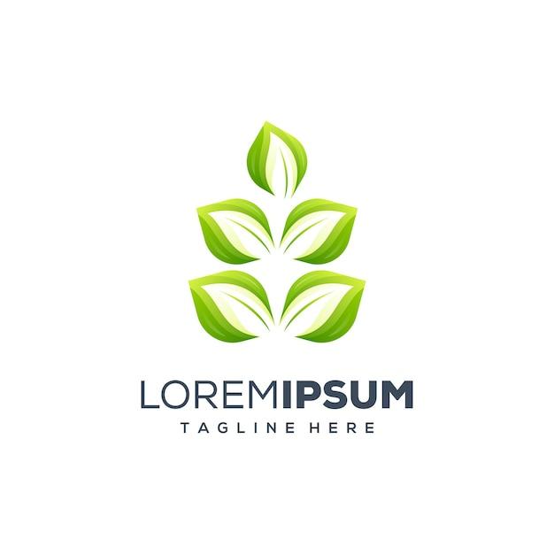 Ilustração de design de logotipo de folha Vetor Premium