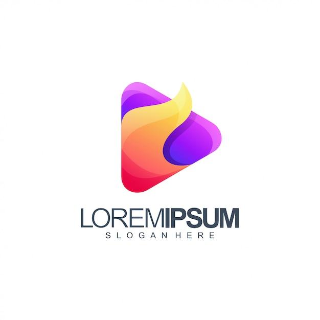 Ilustração de design de logotipo de mídia de fogo Vetor Premium
