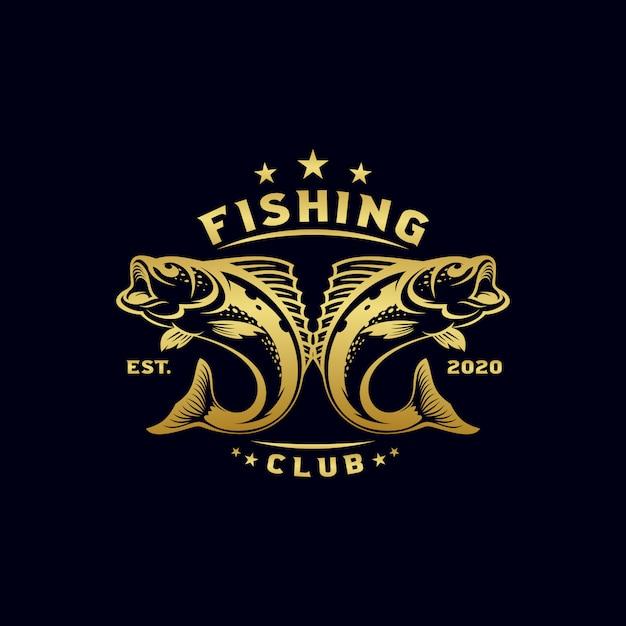 Ilustração de design de logotipo de pesca vintage Vetor Premium