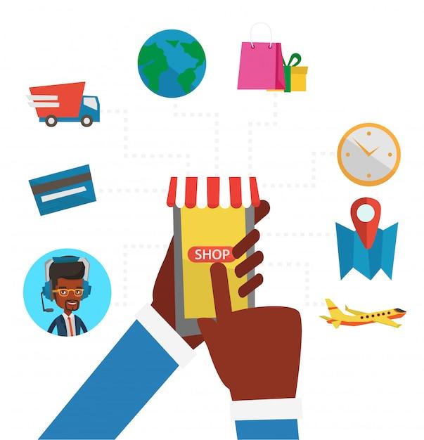 Ilustração de design plano de compras online. Vetor Premium