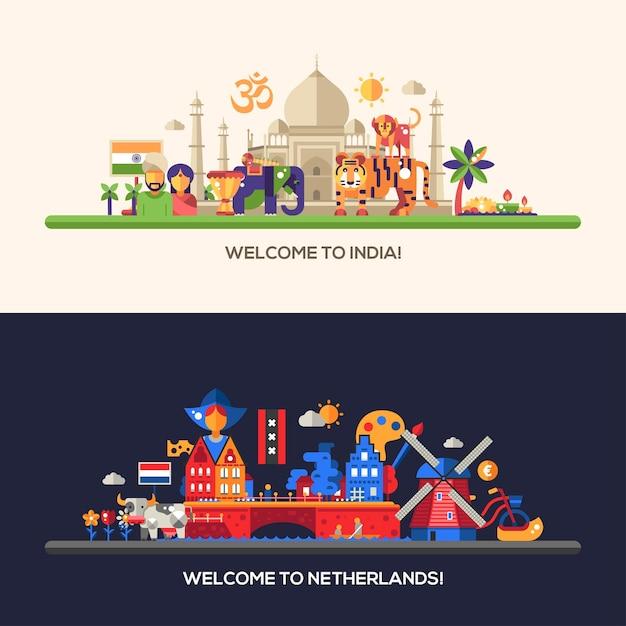 Ilustração de design plano holanda e índia Vetor Premium