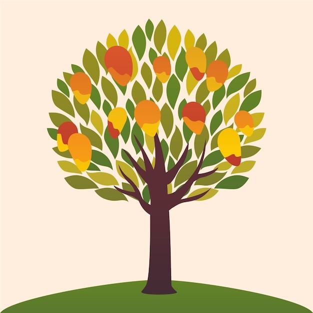 Ilustração de design plano mangueira com frutas Vetor grátis