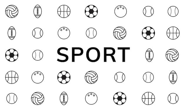 Ilustração, de, desporto, bolas Vetor grátis
