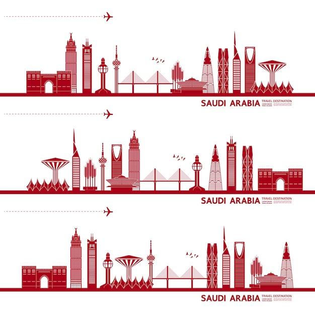 Ilustração de destino de viagem da arábia saudita. Vetor Premium