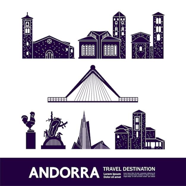 Ilustração de destino de viagem de andorra. Vetor Premium