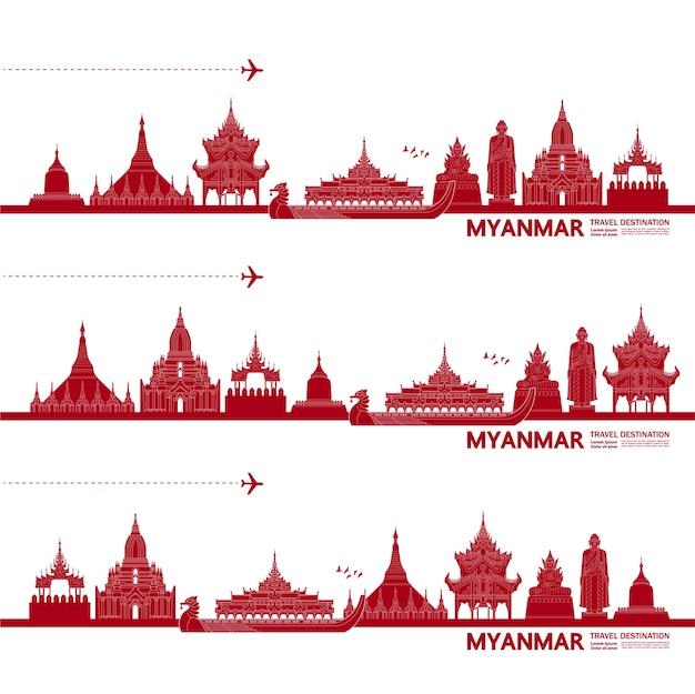 Ilustração de destino de viagem de mianmar. Vetor Premium