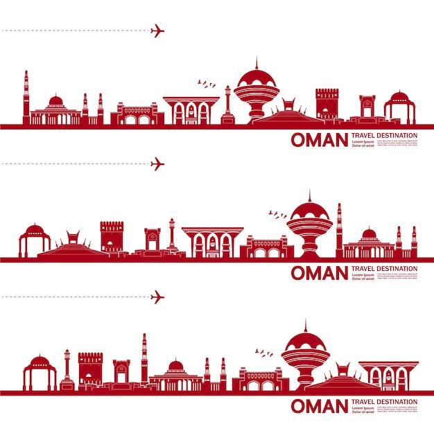 Ilustração de destino de viagem de omã. Vetor Premium