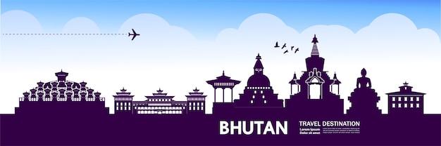 Ilustração de destino de viagem do butão. Vetor Premium