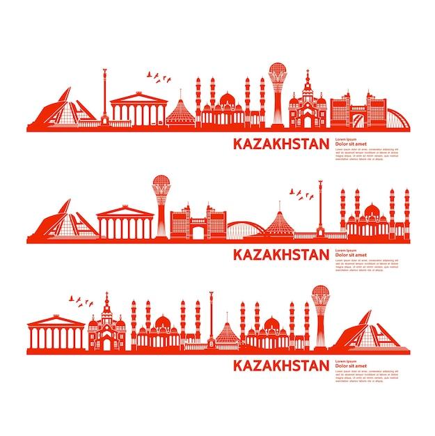 Ilustração de destino de viagem do cazaquistão. Vetor Premium