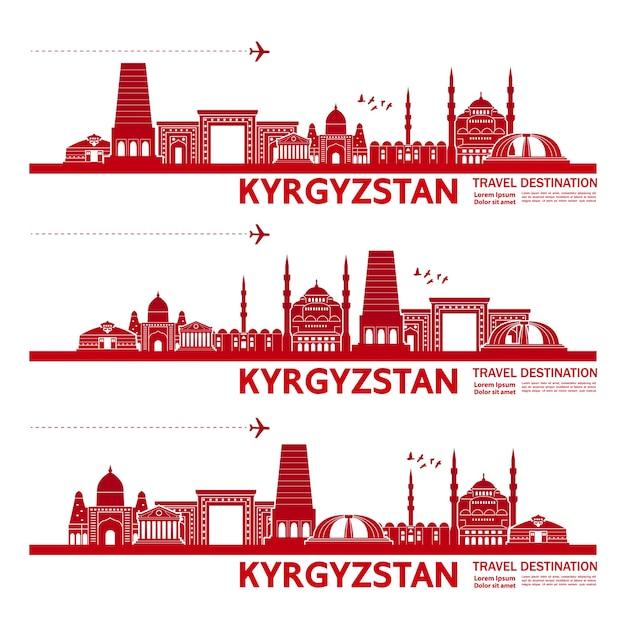 Ilustração de destino de viagem do quirguistão. Vetor Premium