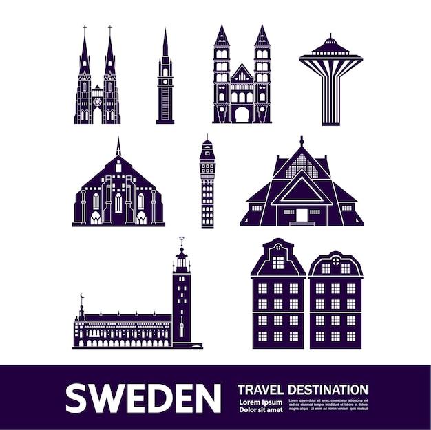 Ilustração de destino de viagem suécia. Vetor Premium
