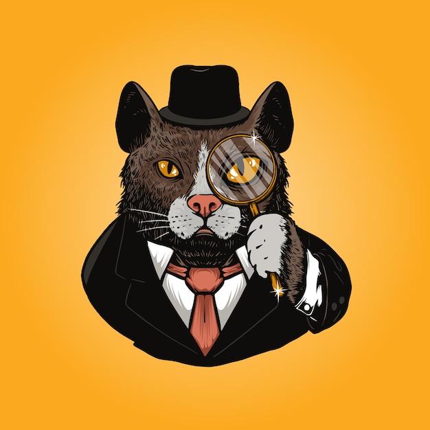 Ilustração de detetive de gato Vetor Premium