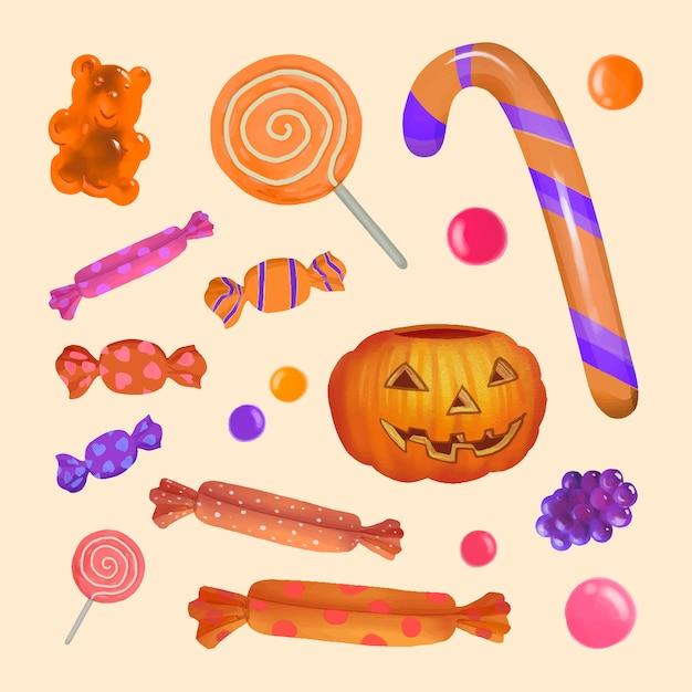 Ilustração, de, dia das bruxas, tema, bala doce, ícone Vetor grátis