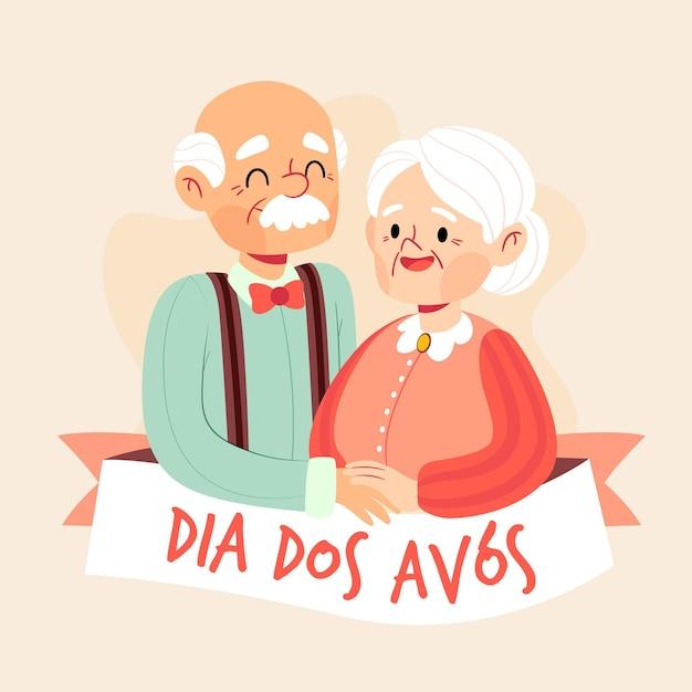 Ilustração de dia dos avós desenhada à mão Vetor grátis