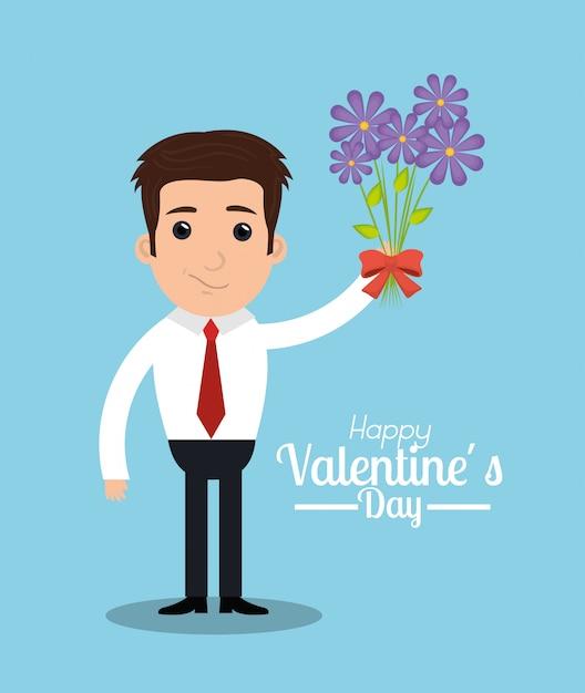 Ilustração de dia dos namorados de um homem com buquê de flores Vetor grátis