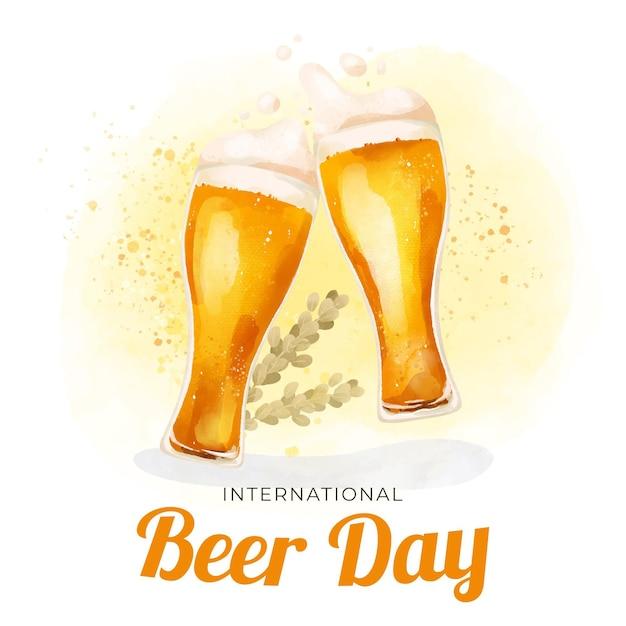 Ilustração de dia internacional aquarela cerveja com óculos Vetor grátis