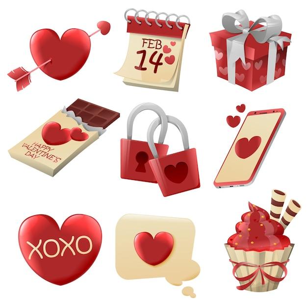 Ilustração de diferentes elementos do dia dos namorados Vetor Premium