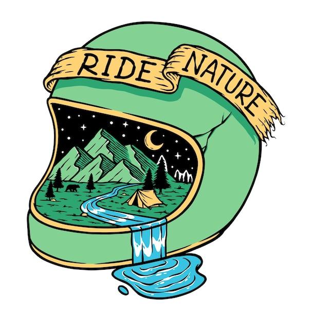 Ilustração de dirigir até a montanha à noite Vetor Premium