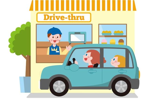 Ilustração de dirigir pela janela com carro Vetor Premium