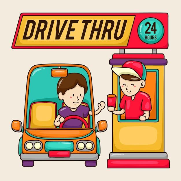 Ilustração de dirigir pela janela com funcionário e cliente de fast food Vetor grátis