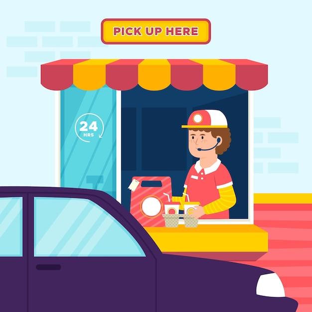 Ilustração de dirigir pela janela com o trabalhador Vetor grátis