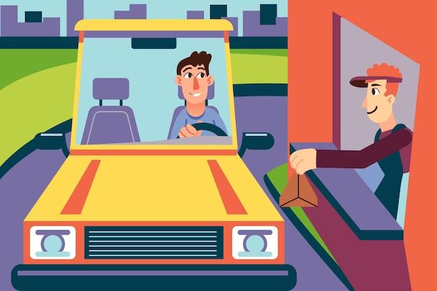 Ilustração de dirigir pela janela Vetor grátis