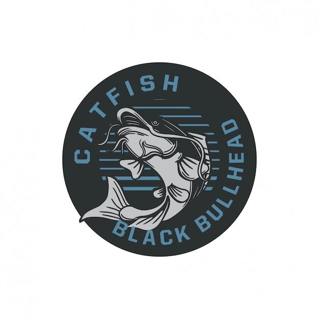Ilustração de distintivo de logotipo de peixe-gato preto bullhead em estilo retro vintage Vetor Premium