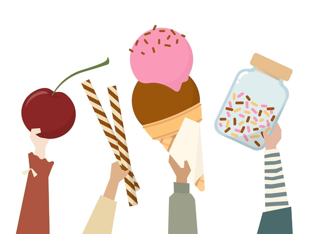 Ilustração de diversas pessoas segurando doces Vetor grátis