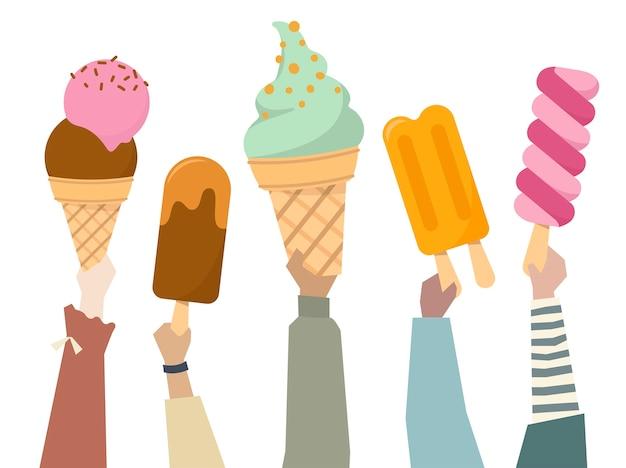Ilustração, de, diverso, pessoas, segurando, colorido, sorvetes Vetor grátis
