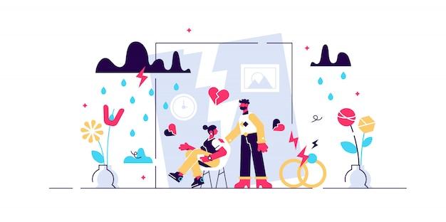 Ilustração de divórcio. conceito de pessoas de separação minúscula relação plana. separação do casamento com marido e mulher, sentindo crise, problemas e conflito. decisão da família adulta de se separar. Vetor Premium