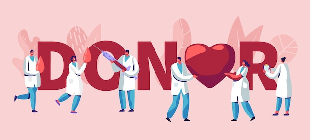 Ilustração de doadores com médicos Vetor Premium