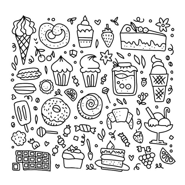 Ilustração de doces em contornos. Vetor Premium
