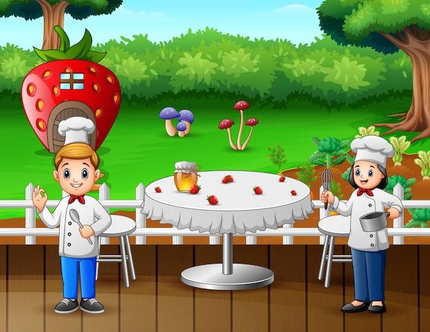 Ilustração de dois chefs preparando comida em restaurante Vetor Premium