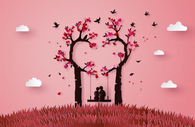 Ilustração de dois enamorados sob uma árvore de amor, Vetor Premium