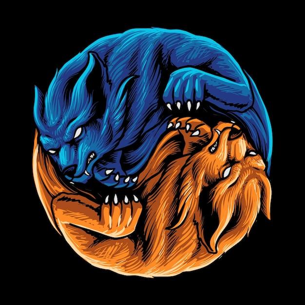 Ilustração de dois lobos selvagens Vetor Premium