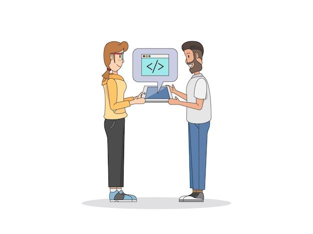 Ilustração de dois programadores Vetor grátis