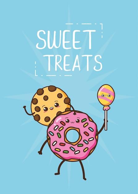 Ilustração de donut e biscoito fofo kawaii fast-food Vetor grátis