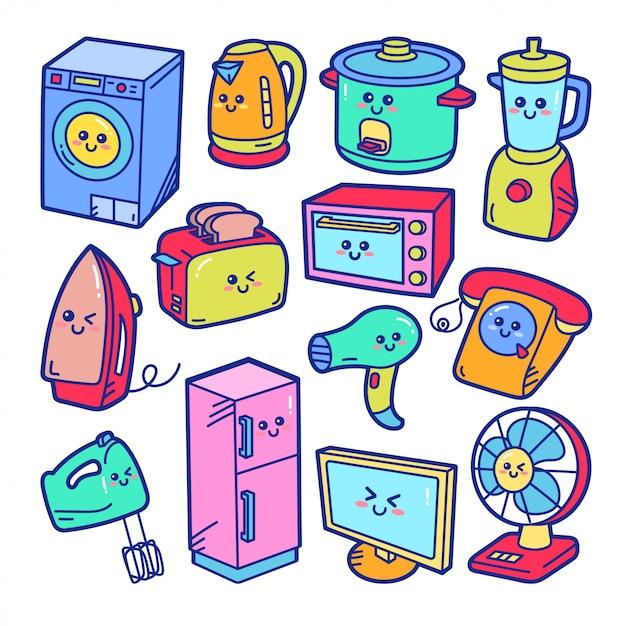 Ilustração de doodle bonito eletrodomésticos Vetor Premium