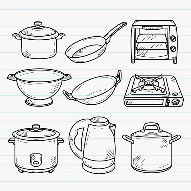 Ilustração de doodle cozinha handdrawn Vetor Premium