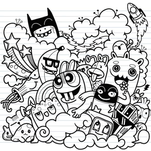 Ilustração de doodle cute, doodle set of funny monster Vetor Premium