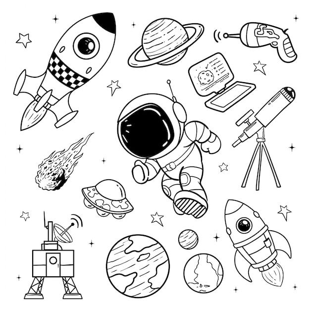 Ilustração de doodle de astronauta Vetor Premium