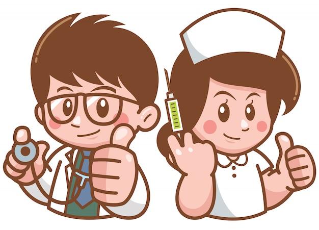 Ilustração de doutor dos desenhos animados e enfermeira Vetor Premium