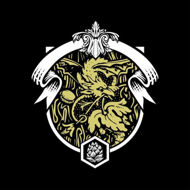 Ilustração, de, dragão, cerveja, em, estilo gravado Vetor Premium