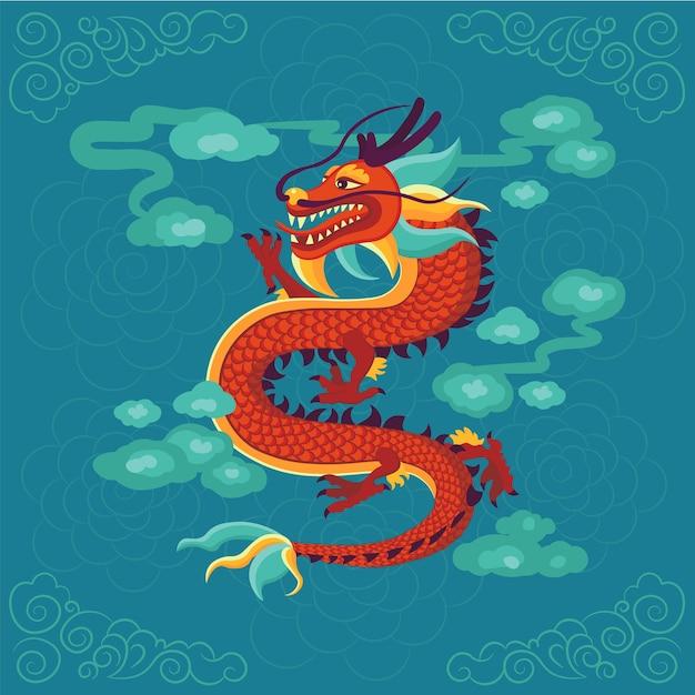 Ilustração de dragão chinês vermelho. Vetor Premium