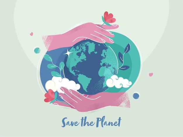 Ilustração de duas mãos protegendo o globo terrestre com efeito de ruído sobre fundo verde claro para o conceito de salvar o planeta. Vetor Premium