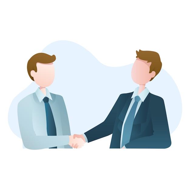 Ilustração de duas mãos tremendo empresário Vetor Premium
